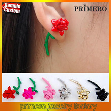 Vintage Stereo Rose Earrings paint piercing stud earrings punjabi