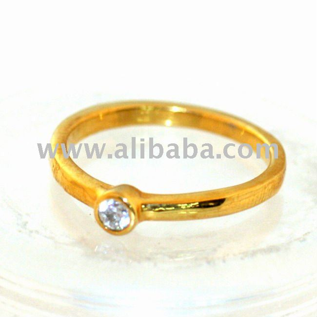 24K Solid Gold Diamond Ring(99.9% Purity)