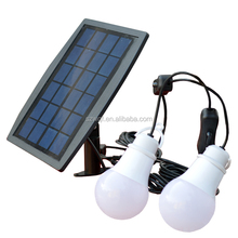 Portable solar panel with 2 cables 2 bulbes 0.5w led bulb Solar LED Bulb Light