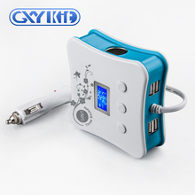 GXYKIT Professional technology quad usb car charger with triple Car Cigarette Lighter sockets