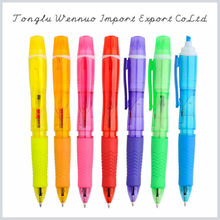 Factory price promotional fashionable colorful 3 color pen with highlighter