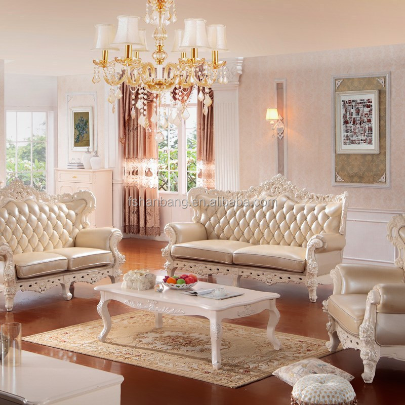 2015 New Model Luxury Modern Elegant <strong>Leather</strong> Fabric Wooden Victorian Living Room Sofa Furniture Set