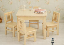 High Quality Wooden Children Study tablbe and 4 chairs