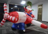 latest design fancy shape christmas decoration inflatable flying planes of Santa Claus