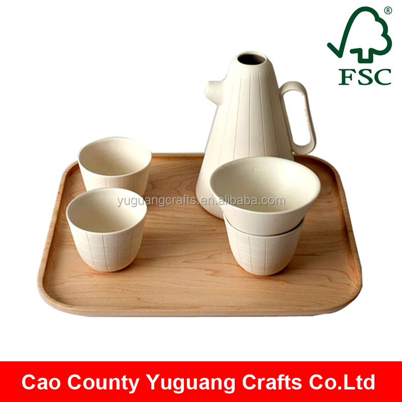 2016 custom unfinished small wooden tea serving tray