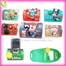 Good selling 2D/3D efffects promotional christmas gifts cute aninal design soft pvc resin phone holder