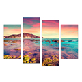 4 Panels HD Prited Seascape Canvas Art Prints Sunset Shore Reef Scenery Island Wall Picture for Living Room/SJMT1910