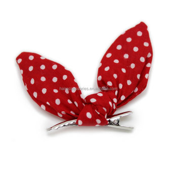 Red Big Bow Hair Clips Wave Point Bow Beak Clip for Girl