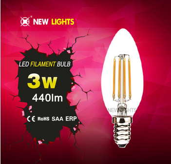 Candle Lights Energy saver 4W 360 degree C35 LED Filament Bulb for crystal lights