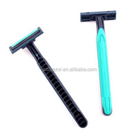 Disposable razor twin baldes with the rubber handle