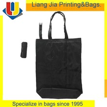Best Selling New Products Black 210D Polyester Foldable Shopping Tote Bag Folding With Velcro