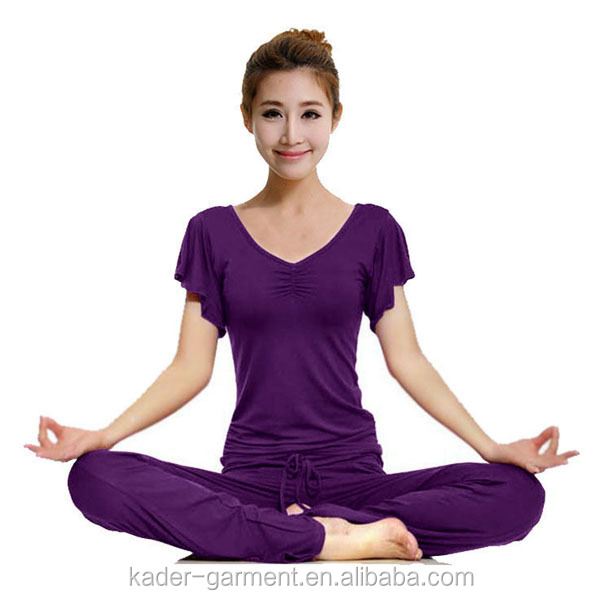 Clothes Women Summer 2015 Yoga Clothes, Women Yoga Wear, Yoga Set with Loose Sleeve and V Neck