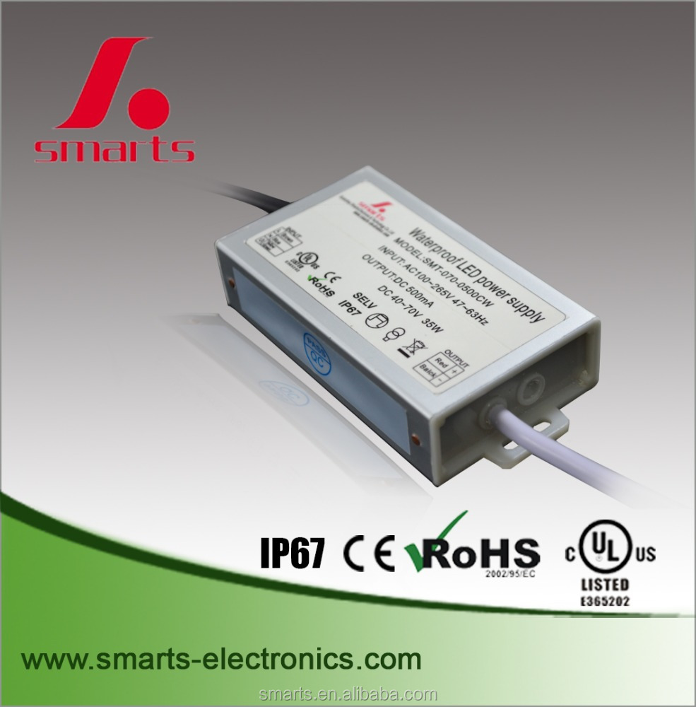 35w 40-70V dc onput waterproof electronic 500ma constant current led driver