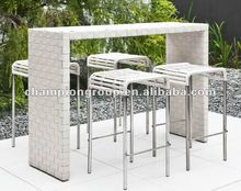 Outdoor bar table set, bar chair, bar stool with stainless steel