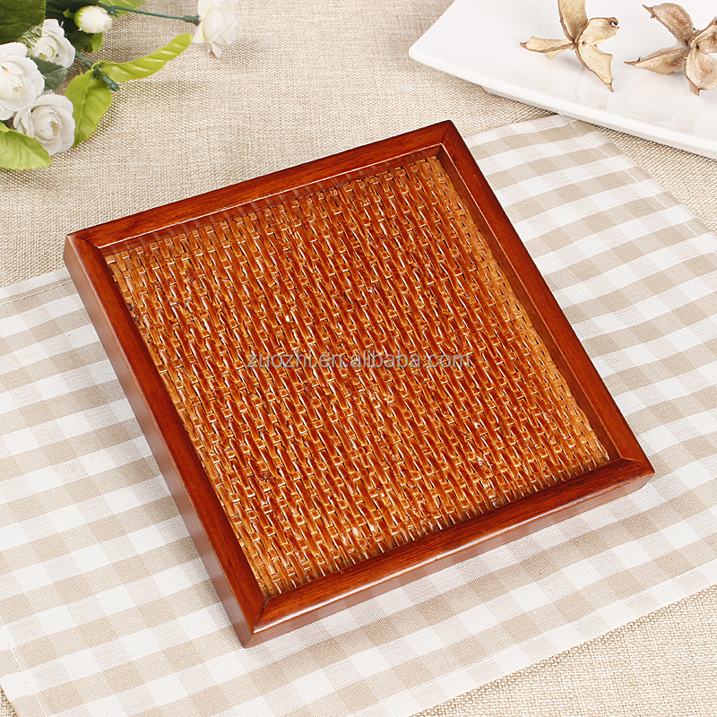 Wooden service tray Cane weaving plate fruit tea plate square