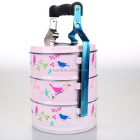 new products 2016 pink white yellow color with bird printed 2layer 3layer 4layer tiffin lunch box