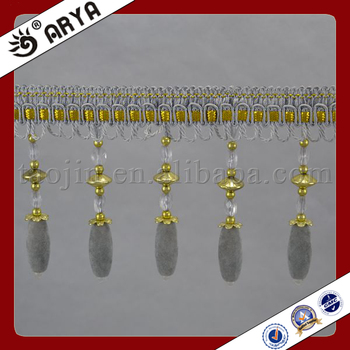 Wholesale Gray Polyester Curtain Fringe Trimming With Nap Beads ...