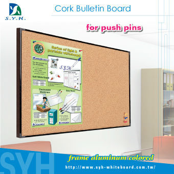 30x45 colored aluminum frame push pins soft cork notice board