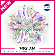 New style Big Sparkly AB Crystal Flower Rhinestone brooch flat back brooch