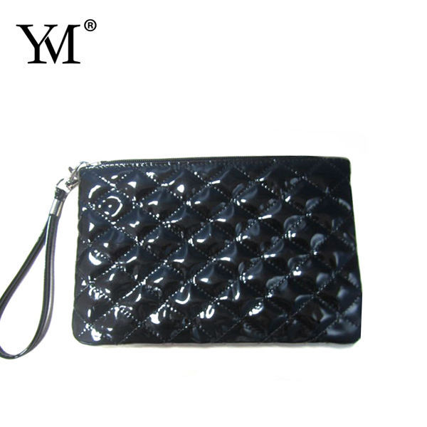 2015 shiny PU leather quilted cotton bling cosmetic bag
