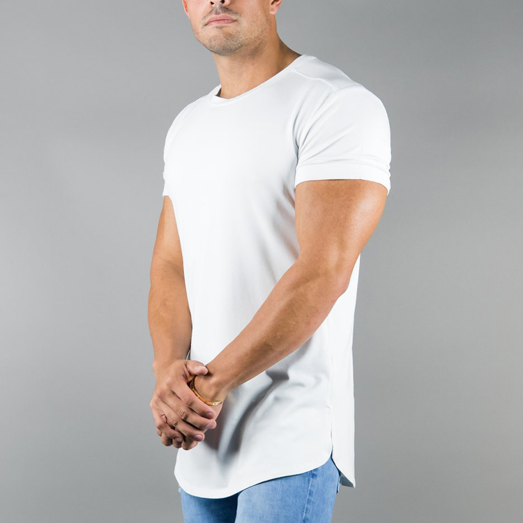 Blank short sleeve men t shirt O neck curved hem t shirt 100 polyester bodybuilding dry fit polyester spandex fitness shirts