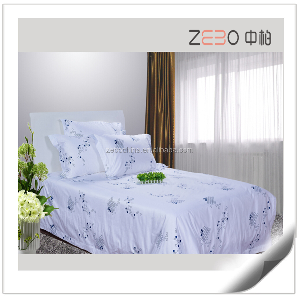 Custom Hotel Fashion Bedding Sets White Printed Cotton Bed Sheet Set