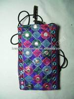 MIRROR EMBROIDERY BORDER MOBILE POUCH
