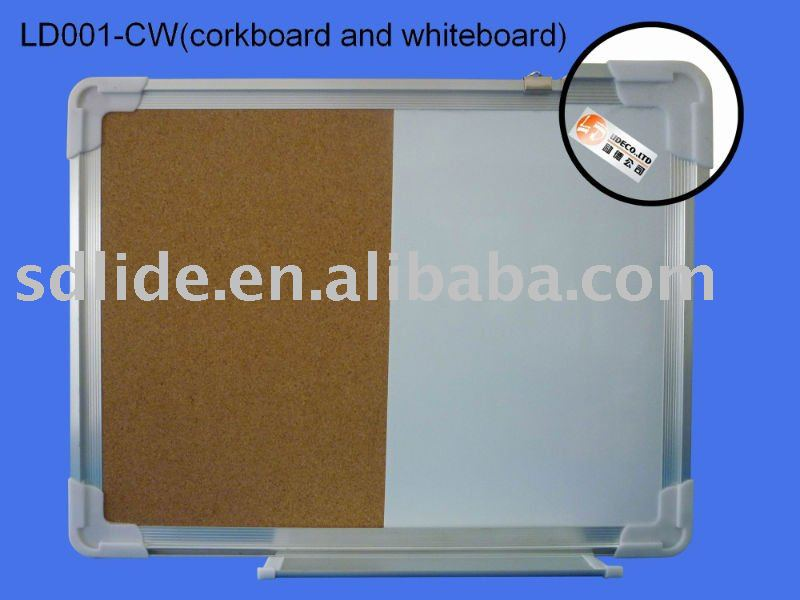 aluminum frame half corkboard and half whiteboard message board