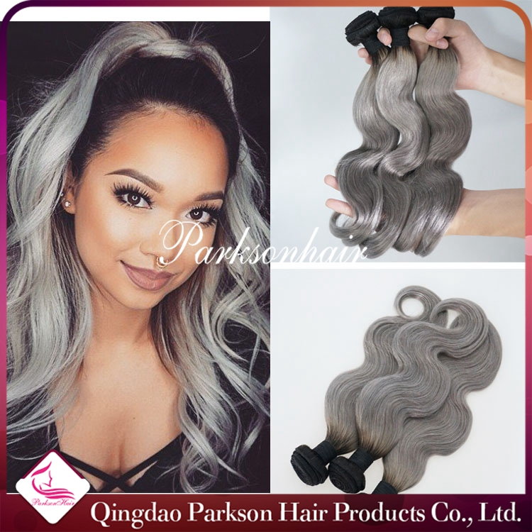 Brazilian Ombre Silver 1bgrey Color Human Remy Hair Weave