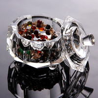 Octagon Glass Crystal jeweled trinket boxes MH-QT0278