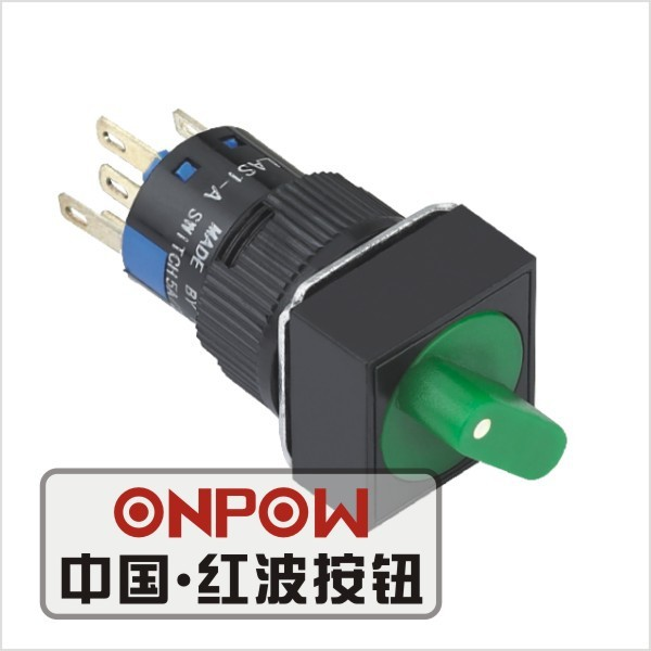ONPOW 16mm illuminated momentary square selector push button switch(LAS1-AF-11X/2/G/12V) (Dia. 16mm)(CE,CCC,ROHS,REECH)