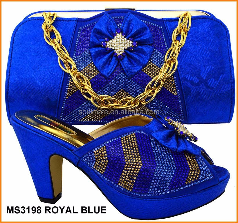 Royal blue Crystal African style <strong>Shoe</strong> and Matching cluth Bag Italian <strong>Shoes</strong> with Matching Bags