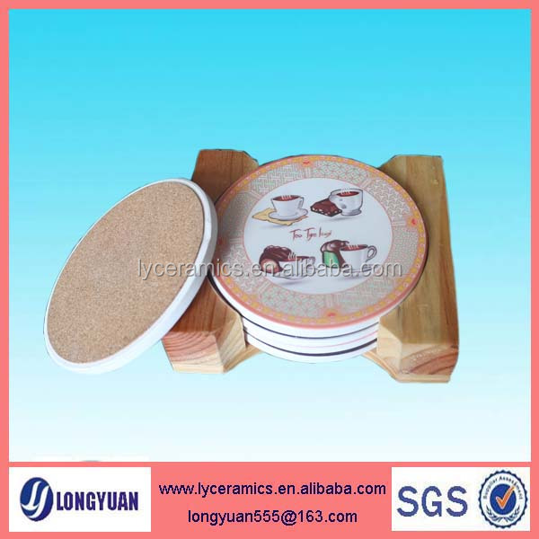 Round 4 color printing water absorbent stone coaster in wooden holder