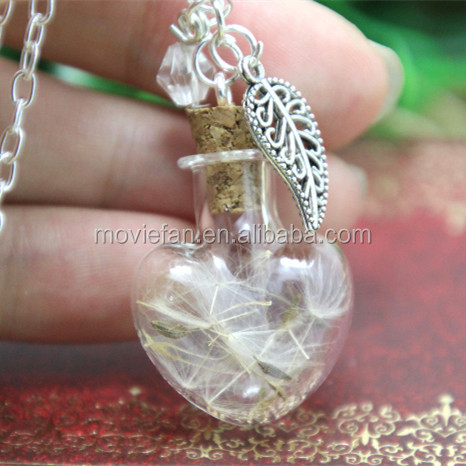 read Dandelion Glass Heart Bottle Necklace leaf charm and crystal silver chain necklace woodland jewelry