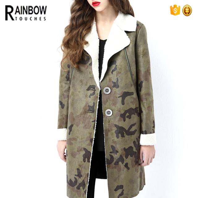Wholesale Winter Fashion Clothes Warm Lamb Wool Longline Camouflage Coat
