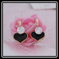 Manufacture High Quality Black Enamel Heart Pendant Earrings With Zircon Crystal JHJ00104