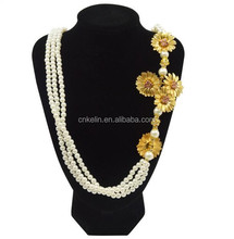 Wedding Gift Pearl Beaded necklace with 24k gold Plated sunflowers