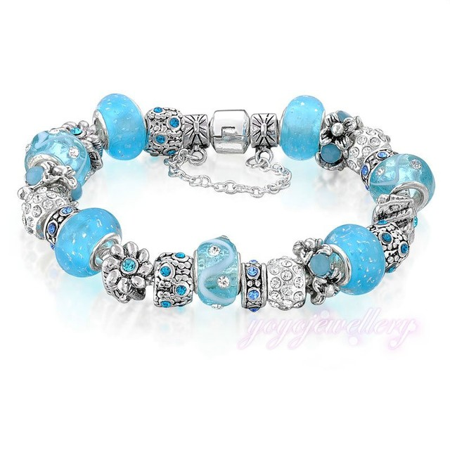 Jewelry trend light blue flower shape zircon bead snake chain silver plated cheap handmade fashion bracelets