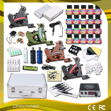 Beginner Tattoo kit 4 Machine Guns Power supply Needle Grip Tip body art Permanent tattoo Kit