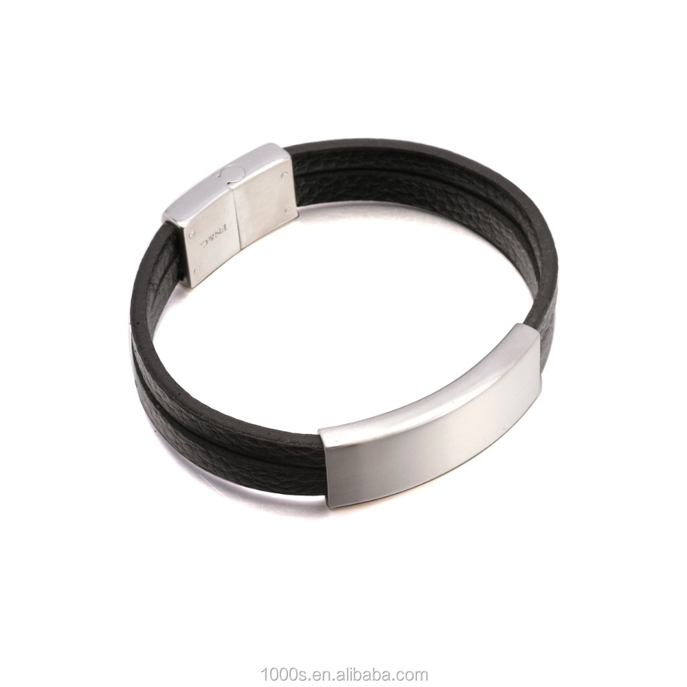 fashion black leather bracelet, black leather stainless steel men's bracelet