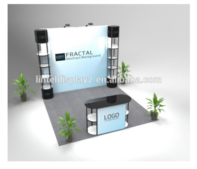 outdoor exhibition booth with custom logos