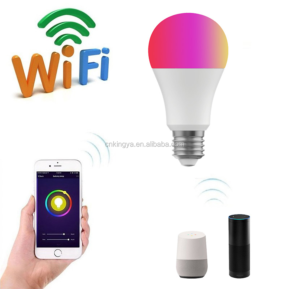 10 Watts E27 Standard Smart Home Automation Lamp Alexa Google Home Voice Control WiFi Dimmable RGBW Lighting LED Bulb