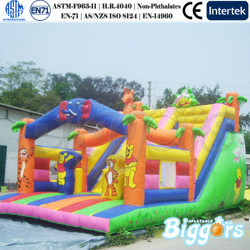 Cartoon Theme Dry Inflatable Children Slide For Amusement Park