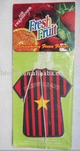 good quality football club T-shirt souvenir hanging paper air freshener/perfume for household