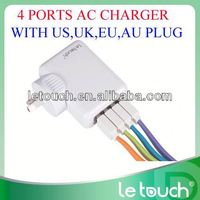 4 USB ports portable replacement ac charger with US UK EU AU plugs
