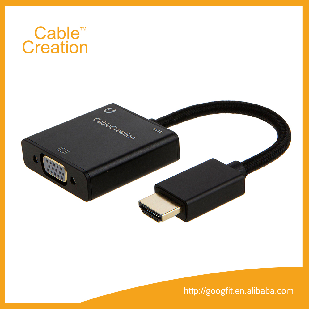 Gold-Plated 1080P HDMI TO VGA Video Audio Adapter cable with 3.5mm Stereo