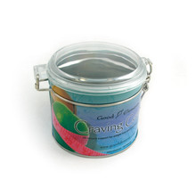 round print tin can with clear window