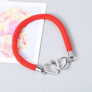14k white gold plated double heart pendant red rope bracelet