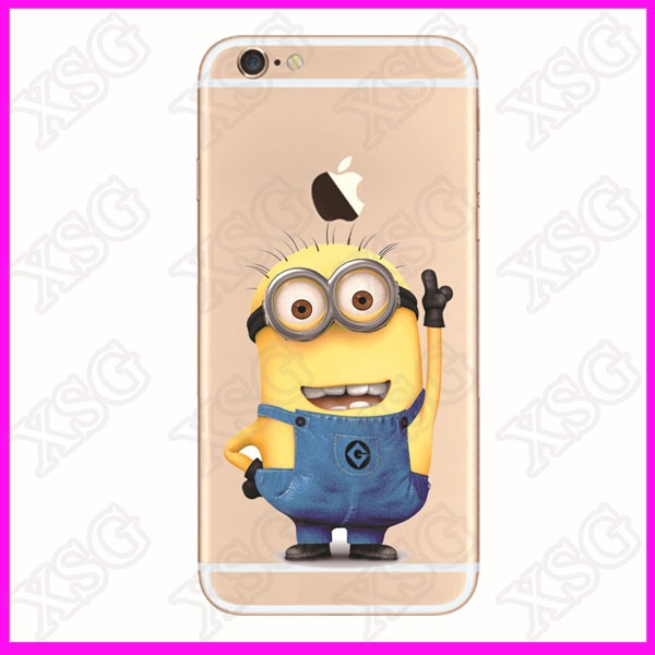 Cheap Minions custom logo soft TPU/PVC cover transparent silicone case for huawei samsung android iphone4/5/6/6s/6plus