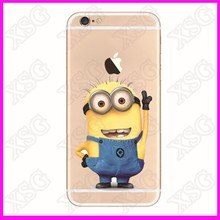 Cheap Minions custom logo soft TPU/PVC cover transparent silicone case for samsung android iphone4/5/6/6s/6plus